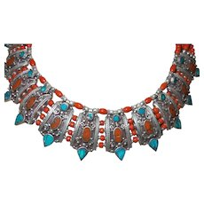 Vintage Ethnic Tribal Red Coral and Turquoise Inlay Collar Bib Necklace with Bali Silver - Red Tag Sale Item