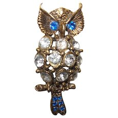 Vintage Large  Figural Owl Brooch with Rhinestones