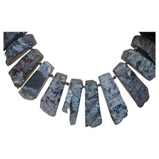 Artisan Created Slate Gray Nugget Agate Necklace with a Silver Plate Clasp