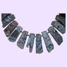 Clearance - Artisan Created Slate Gray Long Slab Agate Necklace with a Silver Plate Clasp