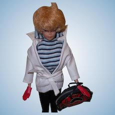 Vintage Barbie Winter Holiday Outfit With White Leather Jacket, Belt, Plaid Tote Bag And Red Gloves