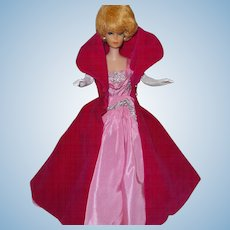 Vintage Barbie Sophisticated Lady With Coat-Dress-Pink Shoes-Necklace and Gloves