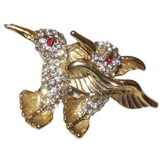 Vintage Double Humming Birds Brooch With Rhinestones and Gold Tone Metal