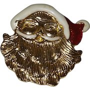 Signed AAI Santa Brooch in Red and White Enamel with Gold Tone Finish