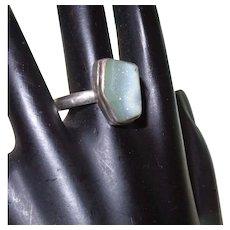 Vintage Bezel Set Blue Gray Druzy Quartz Ring Set In Silver