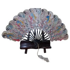 Vintage Japanese Figural Paper Fan With Black Lacquered Wood