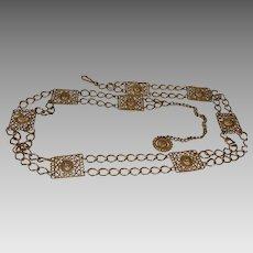 Vintage Gold Tone Metal Chain Belt