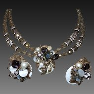 1950s' Unsigned Original By Robert Necklace/Earrings In Grey and White Beads
