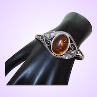 Sterling Silver Bracelet with Large Amber Cabochon