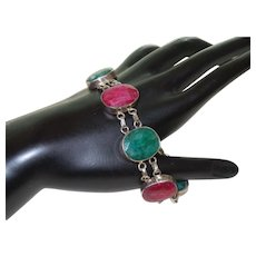Ethnic Natural Ruby and Emerald Bracelet in SIlver - Red Tag Sale Item