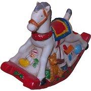 Vintage Christmas Rocking Horse Music Box