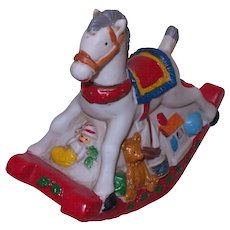 Vintage Christmas Rocking Horse Music Box