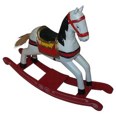 Vintage Christmas Rocking Horse Figure In Painted Wood