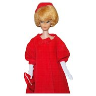 Vintage Barbie Red Flare Coat With Hat, Gloves and Purse