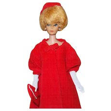 Vintage Barbie Red Flare Coat With Hat, Gloves and Purse - Red Tag Sale Item