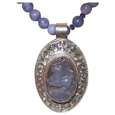 Amethyst Beaded Necklace with an Ethnic Purple Carved Jade Pendant Set in Silver Tone Metal