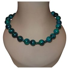 Artisan Created Turquoise Necklace with Silver Tone Toggle Clasp and Earrings