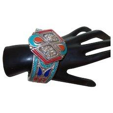 Ethnic Coral, Lapis,Turquoise, Amber Silver Tone Bracelet