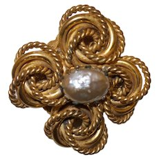 Signed Miriam Haskell Faux Mobe' Pearl Gold Tone Metal Brooch
