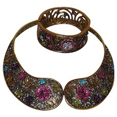 Vintage Collar Necklace and Bracelet In Multi Colored Rhinestones and Gold Tone Metal