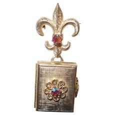 Vintage Fleur de Lis Coro Locket with AB Stones