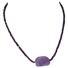 Artisan Created Amethyst Necklace with Amethyst Crystal Quartz Pendant