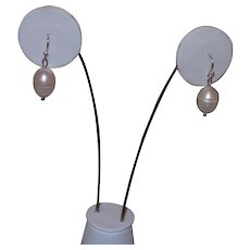Artisan Created Cultured Pearl Drop Earrings With Sterling Silver French Hooks