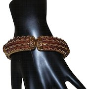Vintage Clamper Bangle in Gold and Bronze Glass Beads