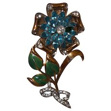Vintage Unsigned Weiss Flower Pin
