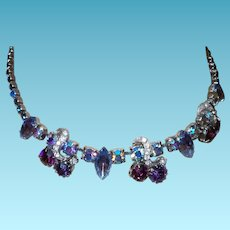 Vintage Unsigned Weiss Purple Rhinestone/Earring Set