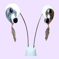 Vintage Mexican Sterling/Onyx Earrings with Feather Design