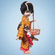 Vintage  Ningyo Japanese Doll with Original Case