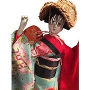 Vintage Japanese Awa Dancer Doll in Original Case and Paperwork