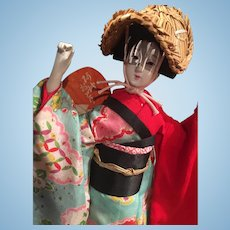Vintage Japanese Awa Dancer Doll in Original Case and Paperwork