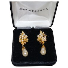 Vintage Anne Klein Faux Pearl and Rhinestone Earrings