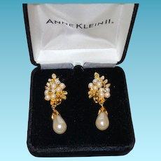 Vintage Anne Klein Faux Pearl and Rhinestone Earrings