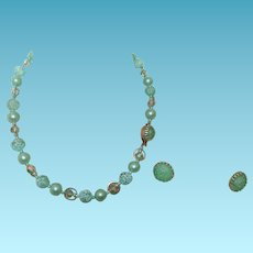Vintage Hong Kong Necklace/Earring Set In Sea Green