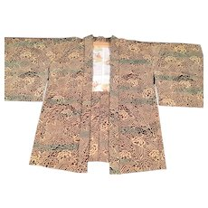 Vintage Haroi Kimono in Brown's, Creams and Green's with Silk Lining - Red Tag Sale Item