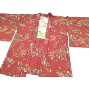 Vintage Haori Kimono in Dark Peach with Japanese County Scenes in Silk Crepe