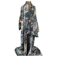 Vintage Japanese Kimono In A Sapphire Blue Hue
