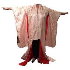 Vintage Japanese Kimono With Red Silk Crepe De Shine' Lining