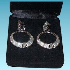 Vintage Jomaz Hoop Rhinestone Earrings