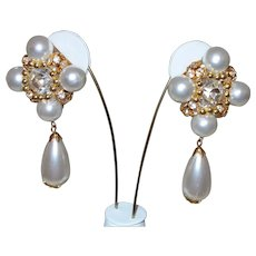 Vintage Faux Pearl Runway Earrings With Rhinestones