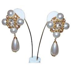 Vintage Faux Pearl Runway Earrings With Rhinestones