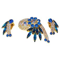 Juliana Brooch/Earrings with Rhinestones and Aurora Borealis Crystals