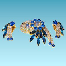 Juliana Brooch/Earrings with Rhinestones and Aurora Borealis Crystals
