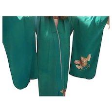 Vintage Japanese Kimono In Green Teal Crepe de Shine'