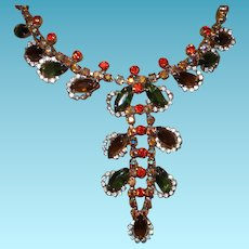 Juliana Rhinestone Necklace in Shades of Green, Gold and Orange