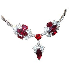 Signed Bogoff Necklace/Earrings with Ruby Red Rhinestones