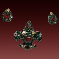 Vintage D&E Fleur de Lis Brooch/Earrings  With WaterMelon Stones